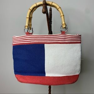 Red White Blue Paper Straw Woven Bamboo Handle Bag